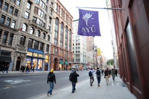 A New York University (NYU) flag hanging from an NYU Building in the Greenwich Village section of Manhattan on Tuesday, November 2, 2010. (Photo/Christopher Sadowski)